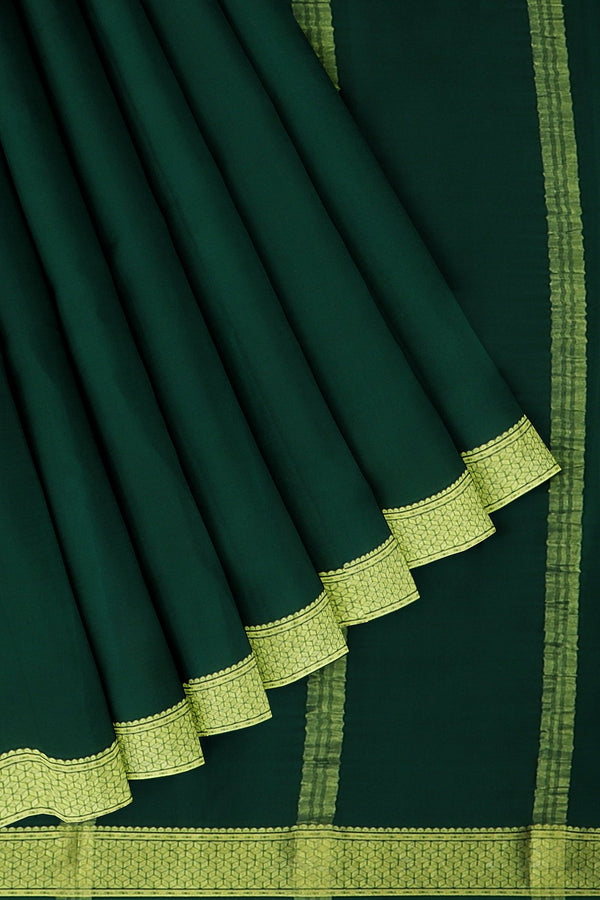 Pure mysore crepe silk saree bottle green with golden zari border