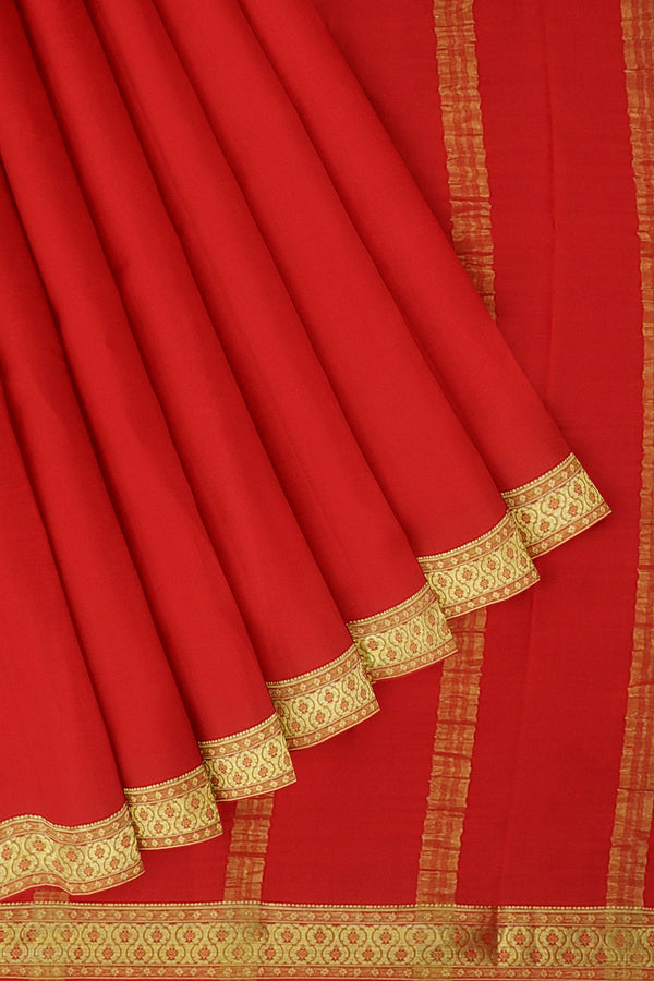 Pure mysore crepe silk saree red with golden floral zari border