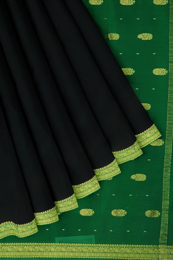 Pure mysore crepe silk saree black and green with golden paisley floral zari border