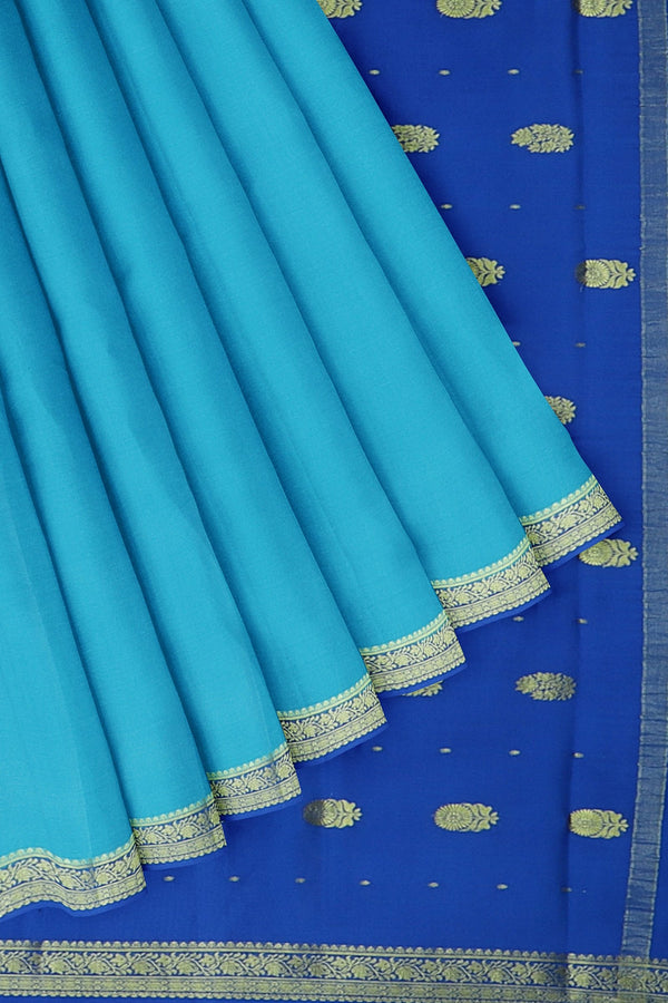 Pure mysore crepe silk saree sky blue and royal blue with golden paisley floral zari border