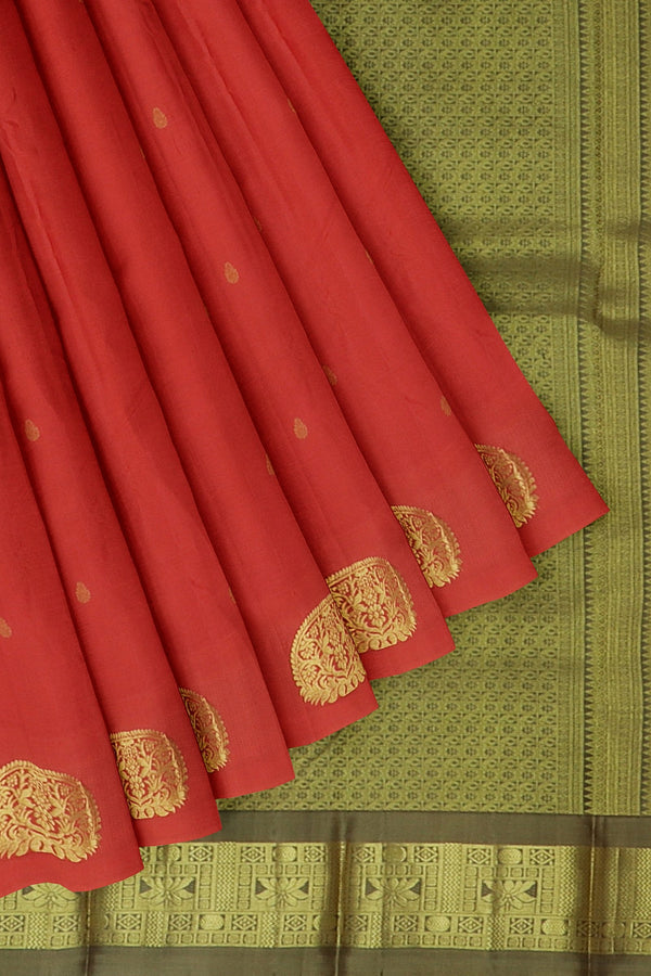 Kanjivaram silk saree peach and olive grey with overall golden zari floral buttas