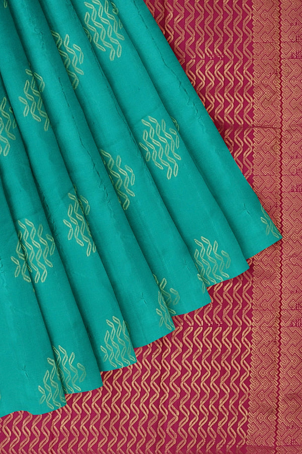 Kanjivaram silk saree teal blue and pink with golden zari buttas