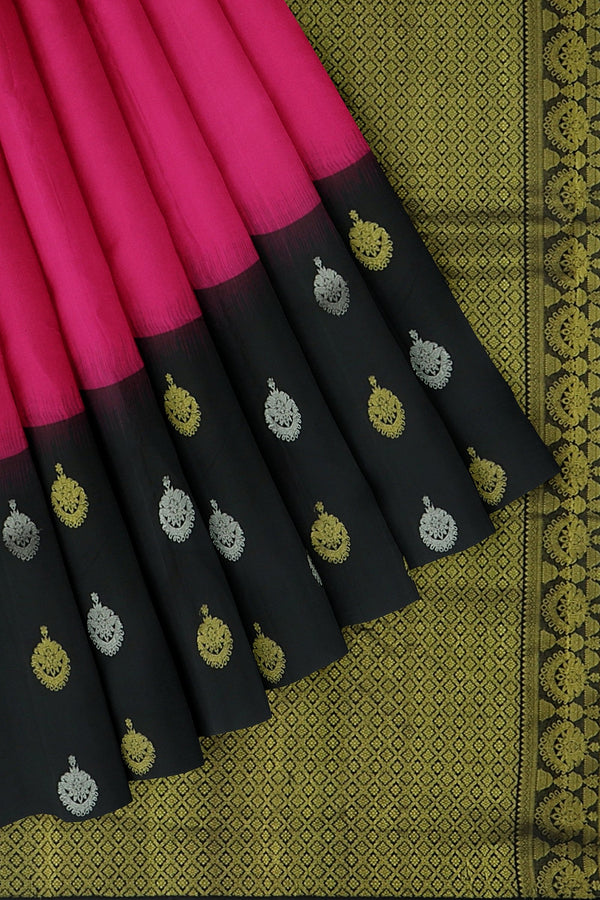 Kanjivaram silk saree pink and black with golden and silver zari jumuka buttas korvai border
