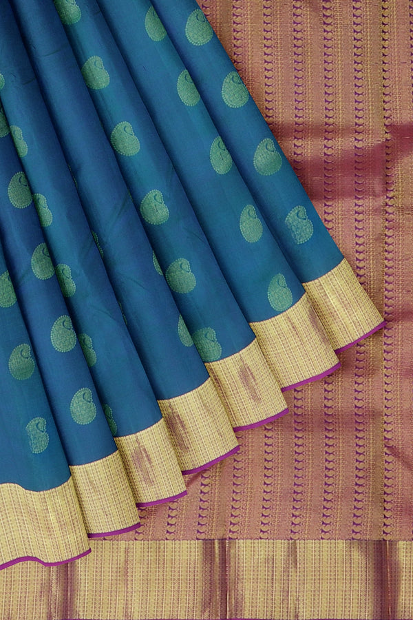 Kanjivaram silk saree peacock blue and pink with golden zari paisley buttas and bavanji border