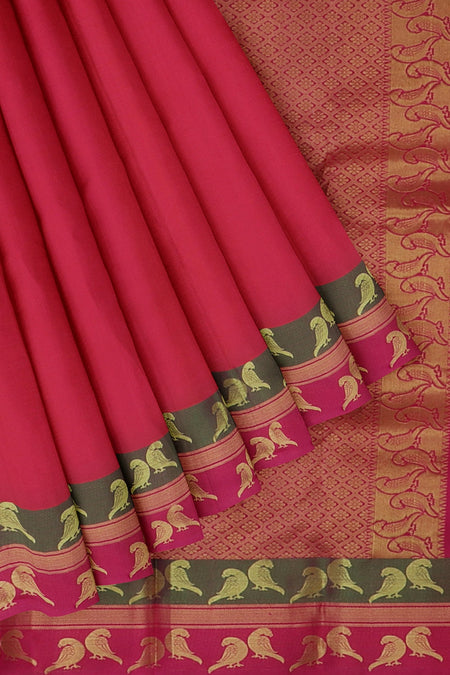 Kanjivaram silk saree dual shade of pink and pink with golden zari bird border