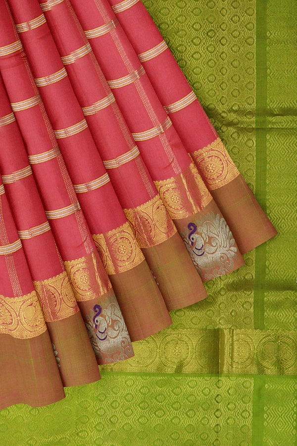 Kuppadam silk cotton saree peach pink and light green with over all zari checks and silver zari annam border