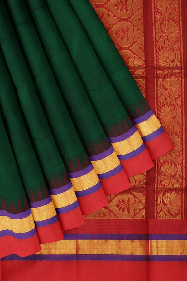 Kuppadam silk cotton saree bottle green and red with golden zari korvai thread temple border
