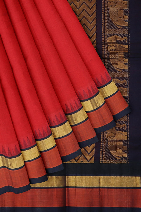 Kuppadam silk cotton red and navy blue with golden zari korvai thread temple border