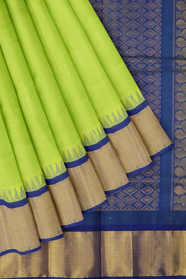 Kuppadam silk cotton lime green and royal blue with golden zari korvai thread temple border