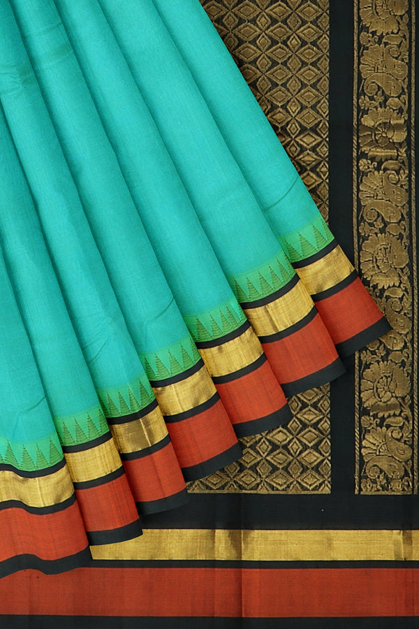 Kuppadam silk cotton pastel blue and black with golden zari korvai thread temple border