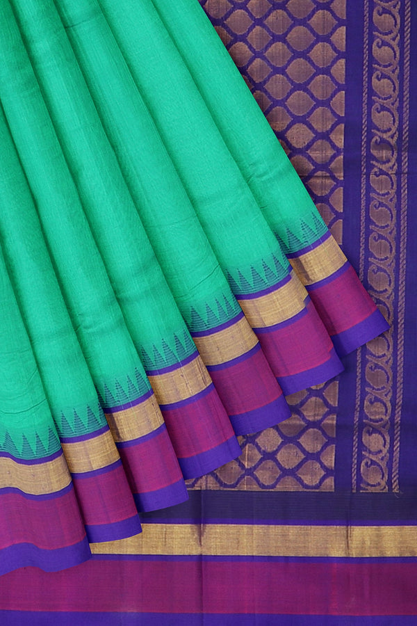 Kuppadam silk cotton teal green and royal blue with golden zari korvai thread temple border