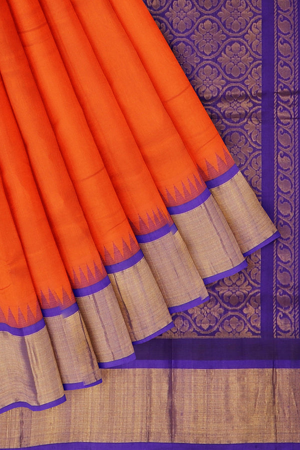 Kuppadam silk cotton orange and blue with golden zari korvai thread temple border