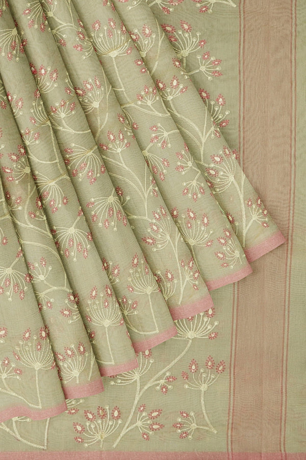 Kota Saree beige and baby pink with floral embroidery