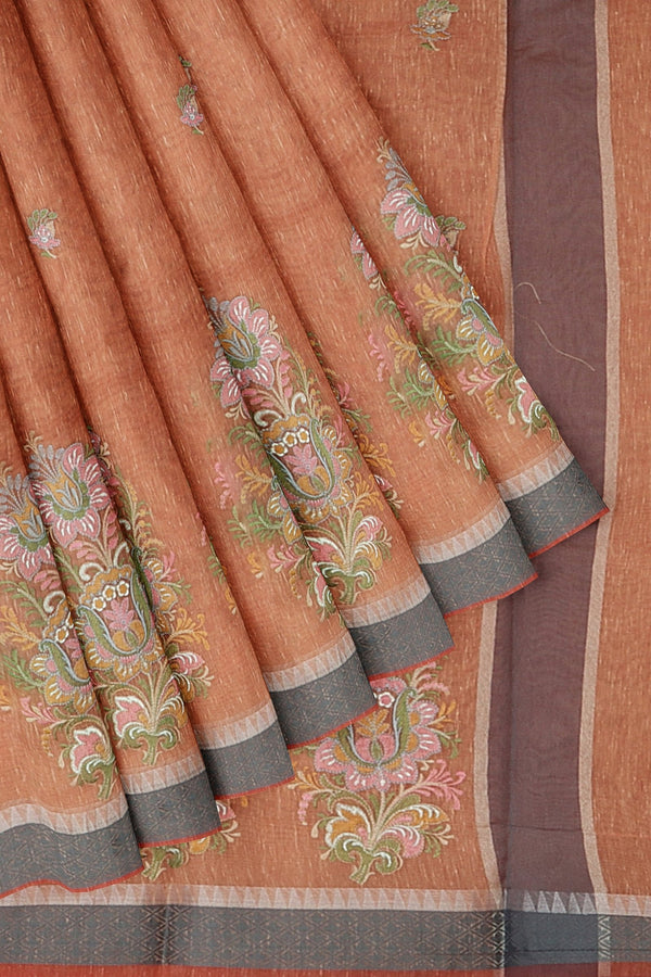 Linen Saree peach with thread embroidery