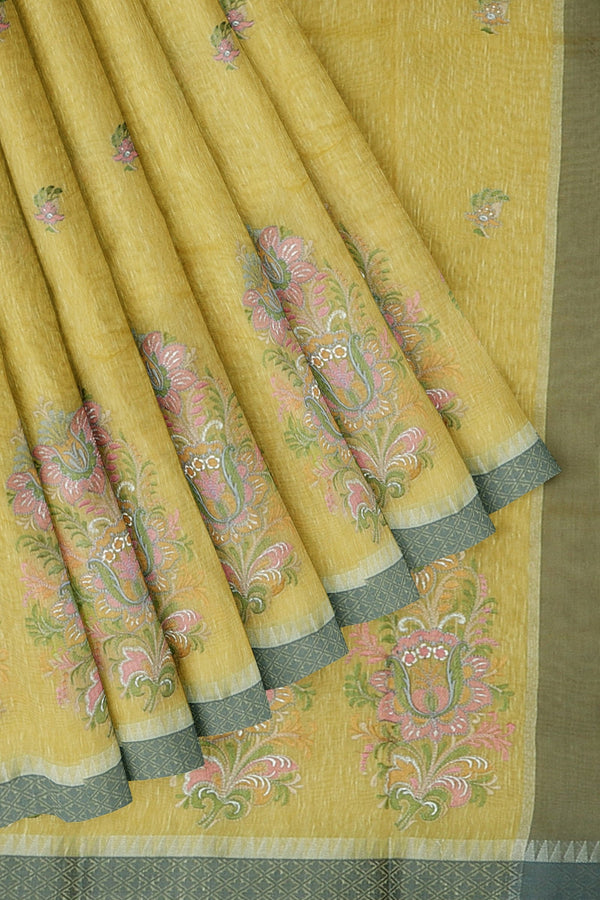 Linen Saree yellow with thread embroidery