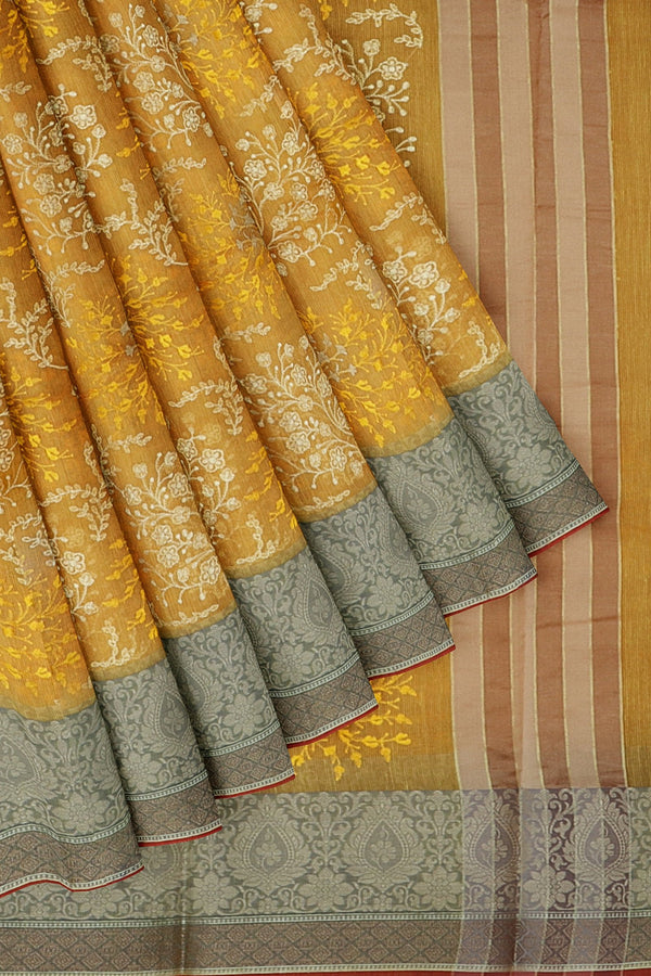 Kota Saree yellow with thread border and all over floral embroidery