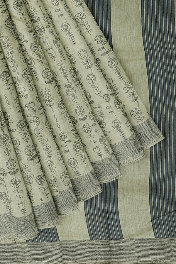 Semi Tussar saree beige and black with floral embroidery buttas and border