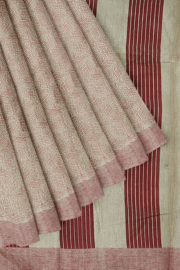 Semi Tussar saree beige and red with overall thread embroidery