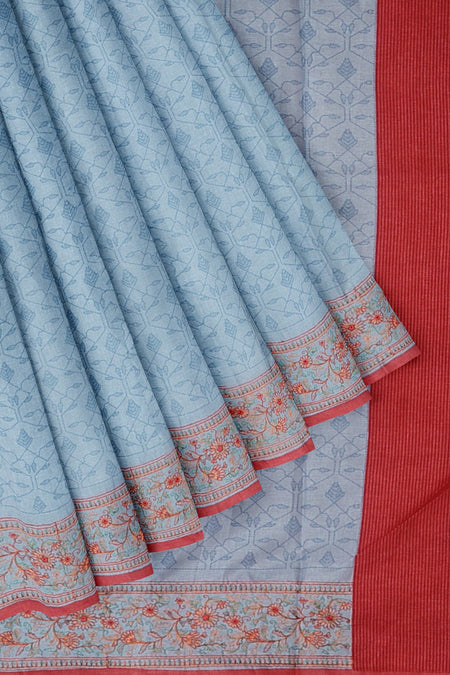Semi Tussar saree blue and peach with floral thread embroidery border