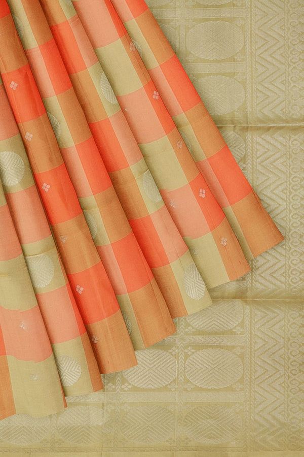 Soft Silk Saree beige and peachish orange with silver zari buttas in borderless style