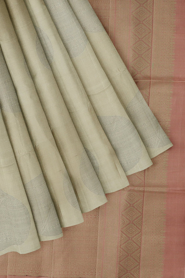 Soft Silk Saree beige and pastel brown with bold zari buttas