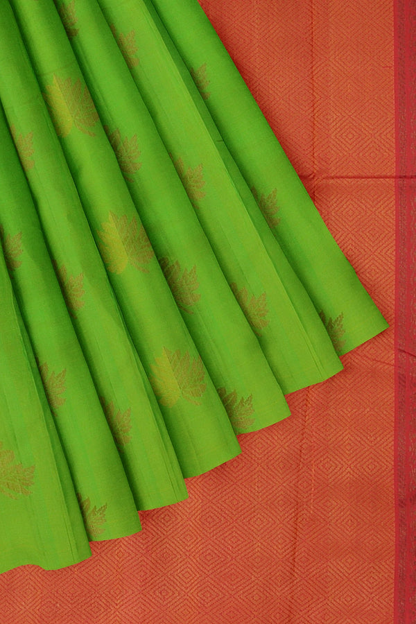 Soft Silk Saree parrot green and pink with with zari morifs