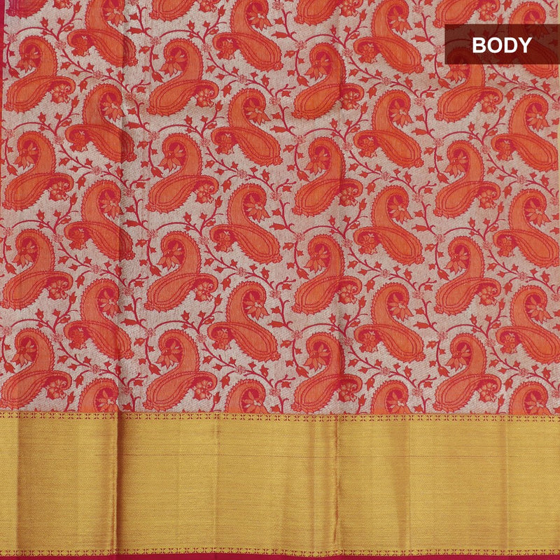 Pure silk pavadai material all over silver with orange and pink beautiful paisley design for 6 to 10 years