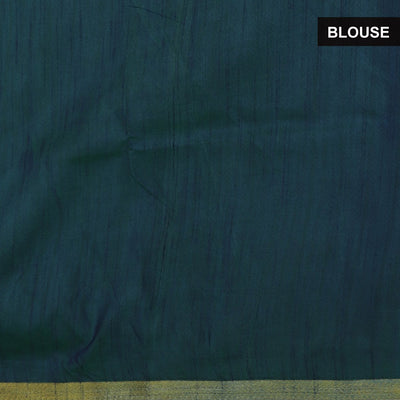 Art Silk Saree Green and Blue with Ikkat prints
