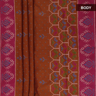 Art Silk Saree Brown and Pink with Ikkat prints