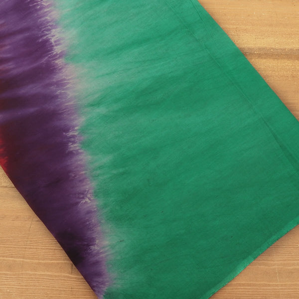 Semi Silk Batik Saree Green and Purple