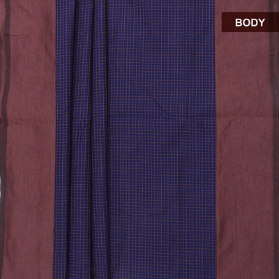 Blended Cotton Saree Blue and Brown with checks and simple border