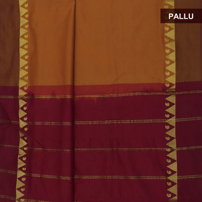 Blended Cotton Saree Mustard and Maroon with Temple zari border 9 yards
