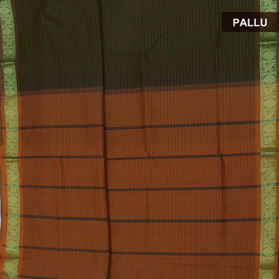 Blended Cotton Saree Dark Green and Mustard with Coin zari border