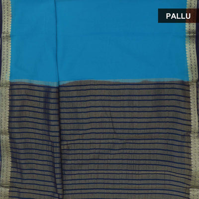 Chiffon Saree Blue and dark blue with contrast zari border