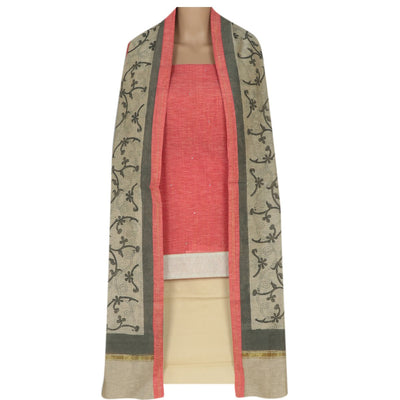 Dress Material - Red and Beige with Chanderi dupatta