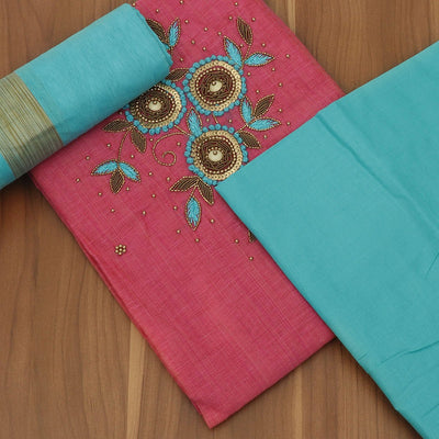 Dress Material - Raw Silk Pink and Sky blue with hand work