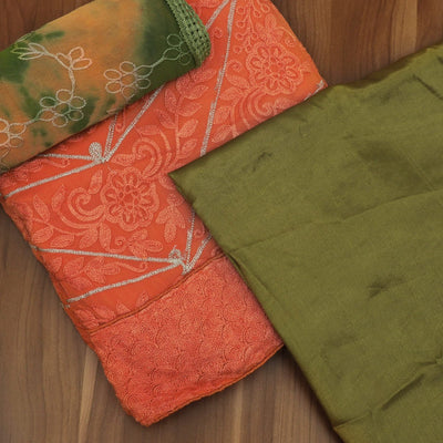 Dress Material - Orange and Green with floral embroidery and chiffon dupatta