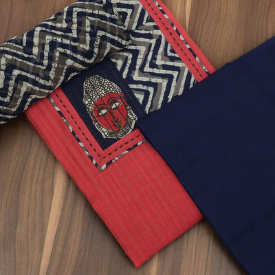 Dress Material - Pink and Dark blue with buddha patch and chiffon dupatta