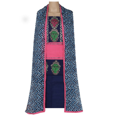 Dress Material - Pink and Dark blue with patch work and chiffon dupatta