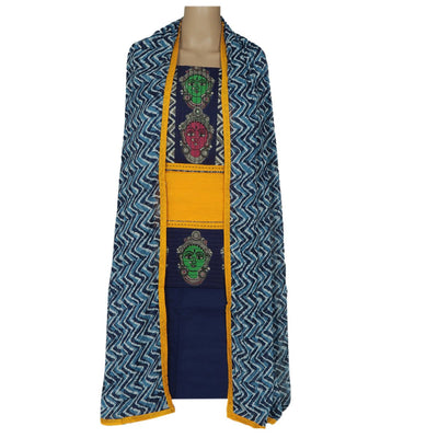 Dress Material - Yellow and Dark blue with patch work and chiffon dupatta