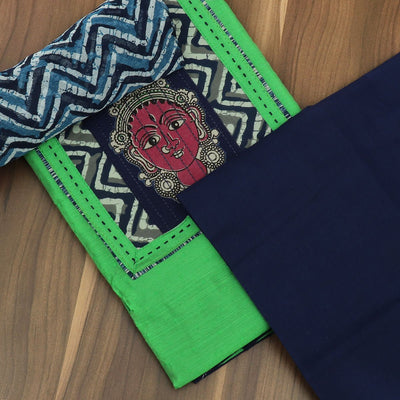 Dress Material - Pista Green and Dark blue with patch work and chiffon dupatta