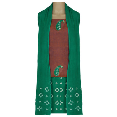 Dress Material - Maroon and Green with Batik applique work