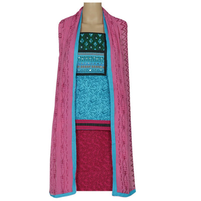 Dress Material - Blue and Pink with mirror work and chiffon dupatta