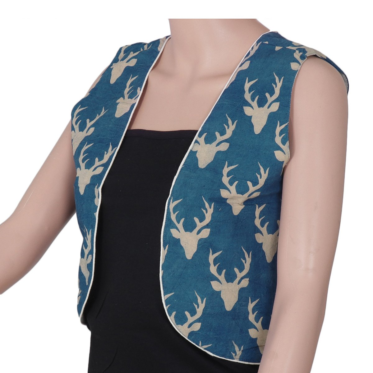 Kalamkari Cotton jacket Blue with deer design