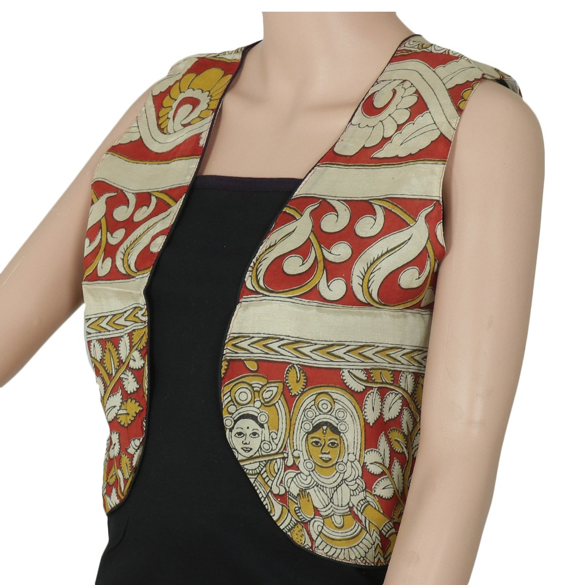 Semi Silk Kalamkari jacket Beige and Maroon with traditional design
