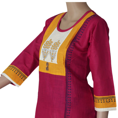 Cotton Kurta Yellow and Pink with Flower print
