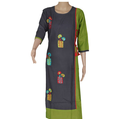 Blended Cotton Kurta Grey and Pale Green with floral embroidery