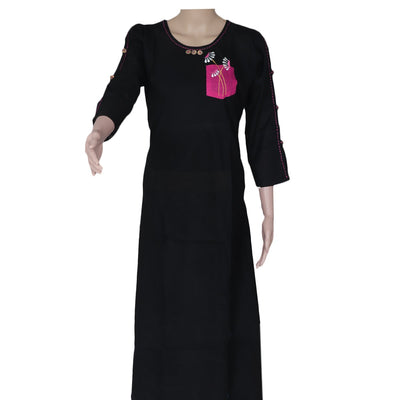 Cotton Kurta Black and Pink with embroidery
