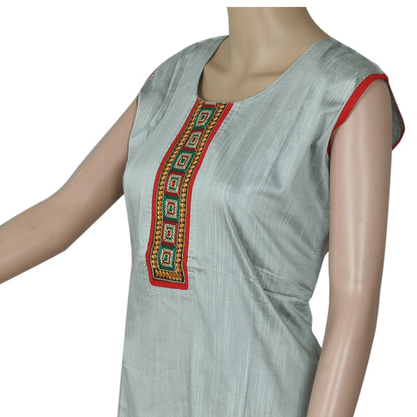 Raw Silk Kurta Sliver with embroidery patch work