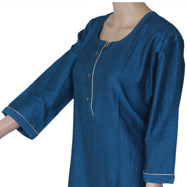 Raw Silk Kurta Navy Blue with Buttons and Simple design